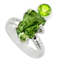 8.20cts natural green moldavite 925 silver solitaire ring size 8.5 r29482
