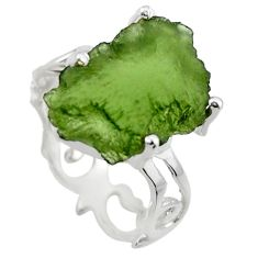 6.22cts natural green moldavite 925 silver solitaire ring size 6 r29462