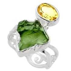7.33cts natural green moldavite 925 silver solitaire ring size 6 r29492