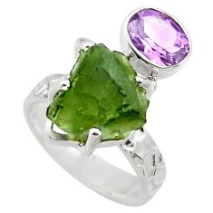 8.48cts natural green moldavite 925 silver solitaire ring size 6 r29493