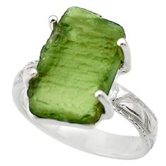 7.04cts natural green moldavite 925 silver solitaire ring size 7 r29461