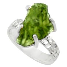 7.04cts natural green moldavite 925 silver solitaire ring size 7 r29476