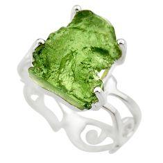 6.40cts natural green moldavite 925 silver solitaire ring size 7 r29477