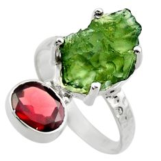 6.04cts natural green moldavite 925 silver solitaire ring size 7 r29488
