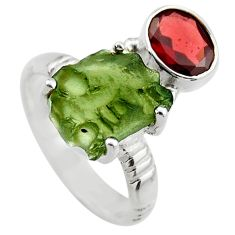 7.54cts natural green moldavite 925 silver solitaire ring size 7 r29497