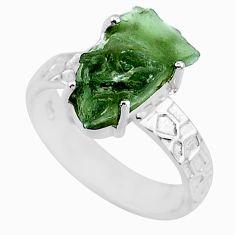 5.79cts natural green moldavite 925 silver solitaire ring size 7 r71801