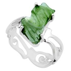 5.22cts natural green moldavite 925 silver solitaire ring size 7 r71811