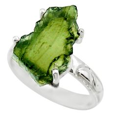 7.04cts natural green moldavite 925 silver solitaire ring size 8 r29435