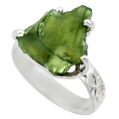 7.54cts natural green moldavite 925 silver solitaire ring size 8 r29436