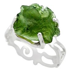 7.15cts natural green moldavite 925 silver solitaire ring size 8 r29447