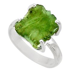 6.70cts natural green moldavite 925 silver solitaire ring size 8 r29455