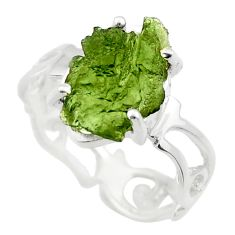 5.22cts natural green moldavite 925 silver solitaire ring size 8 r29467
