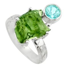 7.60cts natural green moldavite 925 silver solitaire ring size 8 r29491