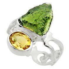 7.89cts natural green moldavite 925 silver solitaire ring size 8 r29495