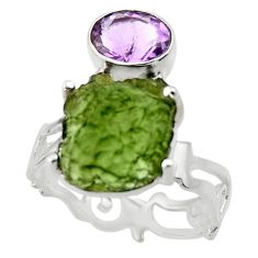 7.79cts natural green moldavite 925 silver solitaire ring size 8 r29499