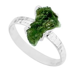 3.16cts natural green moldavite 925 silver solitaire ring size 8 r71806