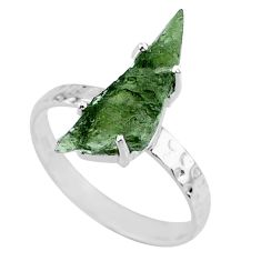 3.73cts natural green moldavite 925 silver solitaire ring size 9 r71807