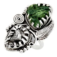 19.53cts natural green moldavite campo (meteorite) 925 silver ring size 8 r44426