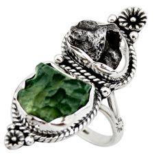 19.19cts natural green moldavite campo (meteorite) 925 silver ring size 9 r44427