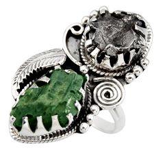 18.70cts natural green moldavite campo del cielo 925 silver ring size 8 r44429
