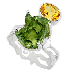 8.42cts natural green moldavite citrine 925 silver solitaire ring size 8 r29501