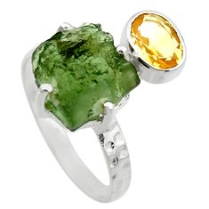 7.10cts natural green moldavite citrine 925 silver solitaire ring size 9 r29518