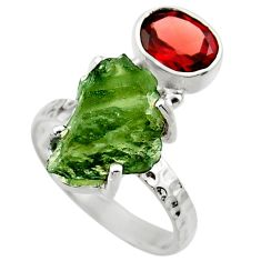 6.82cts natural green moldavite garnet 925 silver solitaire ring size 7 r29506