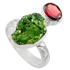 9.04cts natural green moldavite garnet 925 silver solitaire ring size 8 r29486