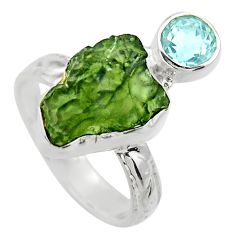 7.67cts natural green moldavite topaz 925 silver solitaire ring size 7 r29489