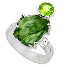 8.42cts natural green moldavite topaz 925 silver solitaire ring size 8 r29521