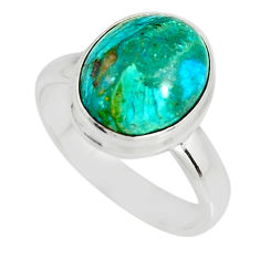 4.93cts natural green opaline 925 silver solitaire ring jewelry size 7.5 r19386