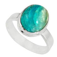 5.13cts natural green opaline 925 silver solitaire ring jewelry size 8.5 r19396