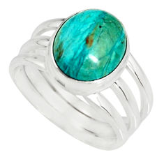 5.01cts natural green opaline 925 silver solitaire ring jewelry size 8.5 r19397