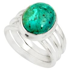 4.82cts natural green opaline 925 silver solitaire ring jewelry size 6.5 r22545