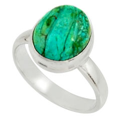 4.90cts natural green opaline 925 silver solitaire ring jewelry size 8.5 r22547