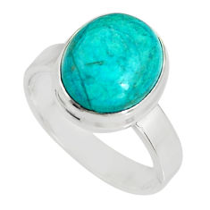 5.16cts natural green opaline 925 silver solitaire ring jewelry size 7 r19392