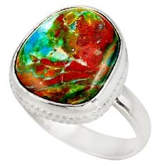 10.78cts natural green opaline 925 silver solitaire ring jewelry size 8 d39063