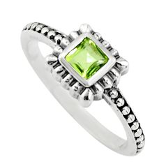 0.58cts natural green peridot 925 silver solitaire ring jewelry size 7.5 r25449