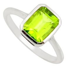2.38cts natural green peridot 925 silver solitaire ring jewelry size 8.5 r25648
