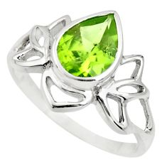 2.78cts natural green peridot 925 silver solitaire ring jewelry size 8.5 r25920