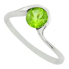 1.32cts natural green peridot 925 silver solitaire ring jewelry size 7.5 r25935