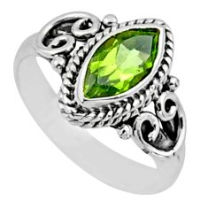 2.19cts natural green peridot 925 silver solitaire ring jewelry size 6 r54447