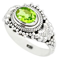 1.53cts natural green peridot 925 silver solitaire ring jewelry size 6 r85522