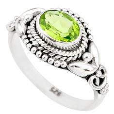 1.44cts natural green peridot 925 silver solitaire ring jewelry size 6 r85531