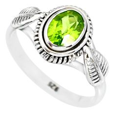 1.47cts natural green peridot 925 silver solitaire ring jewelry size 6 r85534