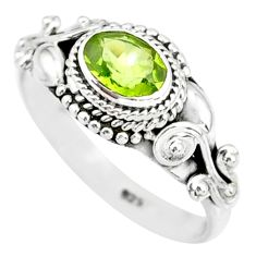 1.42cts natural green peridot 925 silver solitaire ring jewelry size 6 r85543