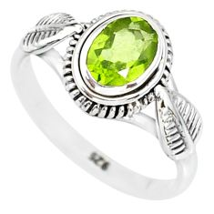 1.58cts natural green peridot 925 silver solitaire ring jewelry size 6 r85546