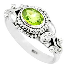 1.53cts natural green peridot 925 silver solitaire ring jewelry size 7 r85523