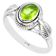 1.43cts natural green peridot 925 silver solitaire ring jewelry size 7 r85536