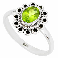 1.48cts natural green peridot 925 silver solitaire ring jewelry size 7 r85538